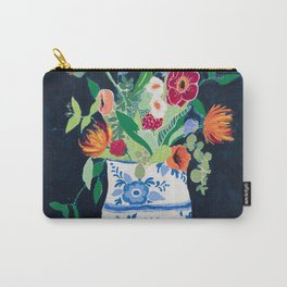 Bouquet of Flowers in Blue and White Urn on Navy Carry-All Pouch