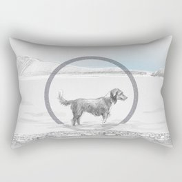 dog wading in fjord Rectangular Pillow