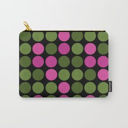 Pattern in pink and olive polka dots on black. Carry-All Pouch