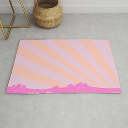 Town Rays Silhouette Grunge Rug