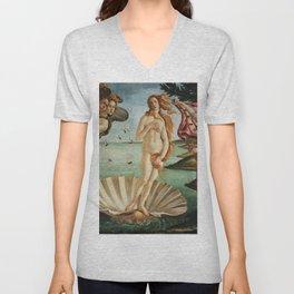 The Birth of Venus by Sandro Botticelli, 1445 Unisex V-Neck