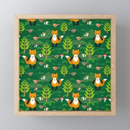Fox and birds in the forest Framed Mini Art Print