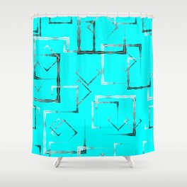 Dark carved squares and gray rhombuses on a sky blue background. Shower Curtain