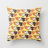 gizmo Throw Pillows featuring gizmo by elvia montemayor