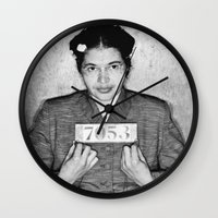 parks Wall Clocks featuring Rosa Parks Mugshot by All Surfaces Design