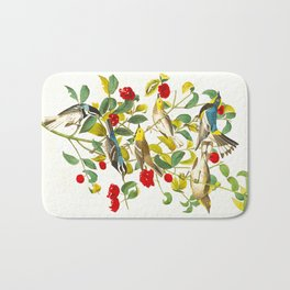 Vintage Scientific Bird & Botanical Illustration Bath Mat