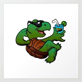 Cartoon Turtle Drinking Cocktail. Art Print
