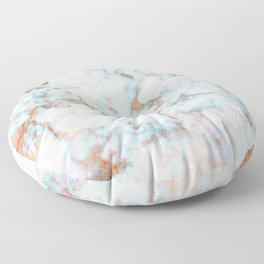 Soft Whites, Aquas and Blush of Pink and Rose Gold Veins Marble Floor Pillow