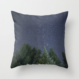 Pine trees with the northern michigan night sky Throw Pillow