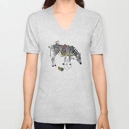 Contemporary Zebra's In The Wild - Bagaceous Unisex V-Neck