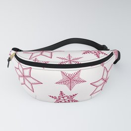 Red Snowflakes On White Background Fanny Pack