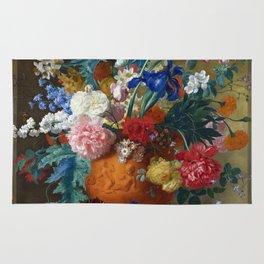 """Jan van Huysum """"Flowers in a Terracotta Vase"""" Rug"""