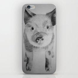 Pencil pig drawing iPhone Skin