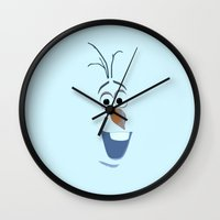 olaf Wall Clocks featuring Olaf (Frozen) by George Hatzis