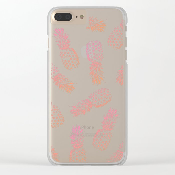 Pink Pineapples Clear iPhone Case