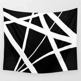 Geometric Line Abstract - Black White Wall Tapestry