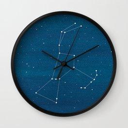 Orion Constellation, teal ocean sailboat illustration Wall Clock