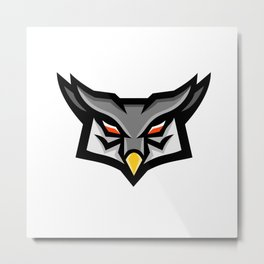 Angry Horned Owl Head Front Mascot Metal Print