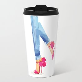 Red heels and jeans Travel Mug