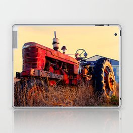 old tractor red machine vintage Laptop & iPad Skin