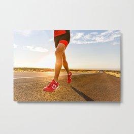 Triathlon running athlete training on road in running shoes Metal Print