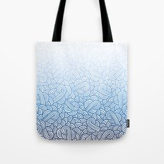 Gradient blue and white swirls doodles Tote Bag