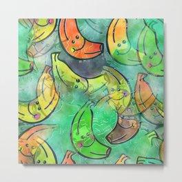 Banana Watercolor Metal Print