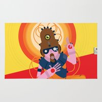 data Area & Throw Rugs featuring The inscrutable Lord ov Data by Alex.Raveland...robot.design.digital.art