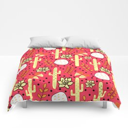 Cacti and butterflies in pink Comforters