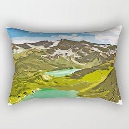 alpine mountain view vector art Rectangular Pillow