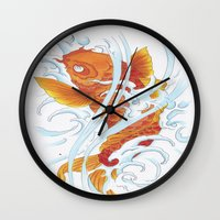 koi fish Wall Clocks featuring Koi Fish by Give me Violence