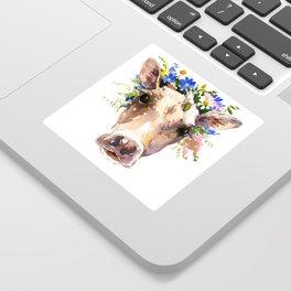 Cow Head, Floral Farm Animal Artwork farm house design, cattle Sticker