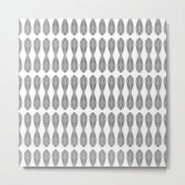 Palm Frond Pattern in Black and White Metal Print