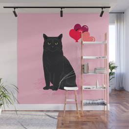 Black Cat valentines day balloons hearts cat breeds must have gifts valentine's day Wall Mural