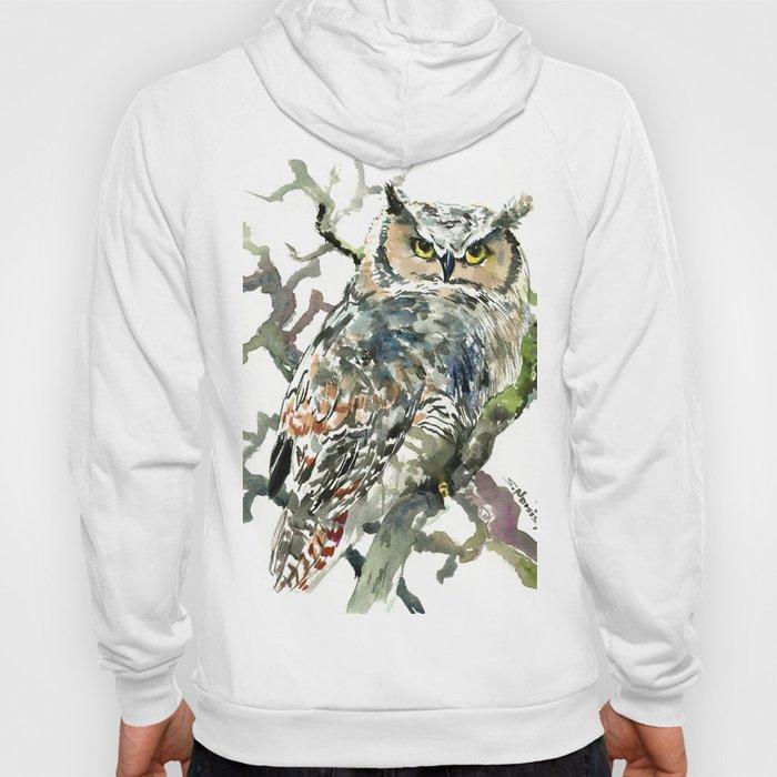 Great Horned Owl in Woods, woodland owl Hoody