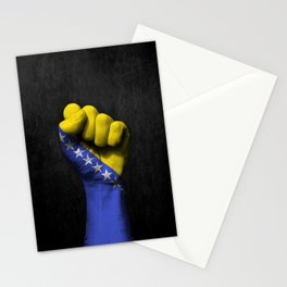 Bosnian Flag on a Raised Clenched Fist Stationery Cards