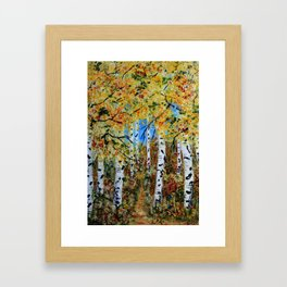 Birch Tree Forest, Impressionism Rustic Art Home decor Framed Art Print