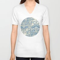 bedding V-neck T-shirts featuring Blue & Tan Art Nouveau Pattern by micklyn