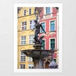 Neptune Fountain in Gdansk Art Print