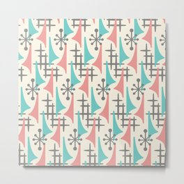 Mid Century Modern Atomic Wing Composition 92 turquoise, Dusty Rose and Gray Metal Print