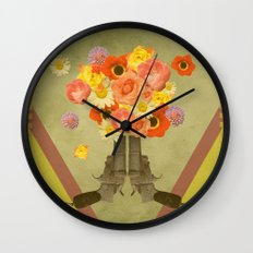 In my world, flowers come out of guns Wall Clock