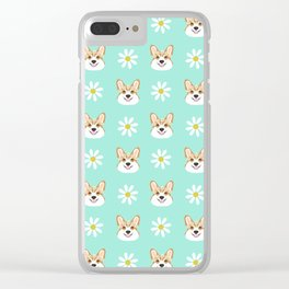 Corgi welsh corgi daisy flowers spring summer florals dog breed pet portrait by pet friendly Clear iPhone Case