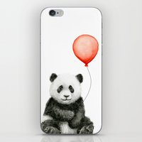 Panda and Red Balloon Baby Animals Watercolor iPhone & iPod Skin