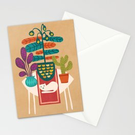 Indoor garden with cat Stationery Cards