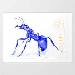 Ant on a Japanese Postcard Art Print