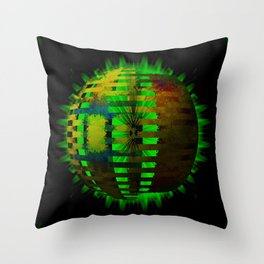 Yellow Layered Star in Green Flames Throw Pillow