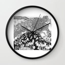 Zentangle Vermont Landscape Black and White Illustration Wall Clock