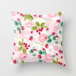 strawberries w kisses Throw Pillow