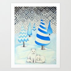 Winter Foxes Art Print