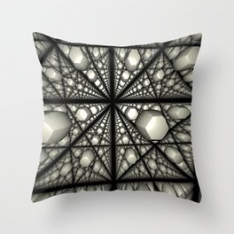 Squished semiorganic hexagons in a grid Throw Pillow